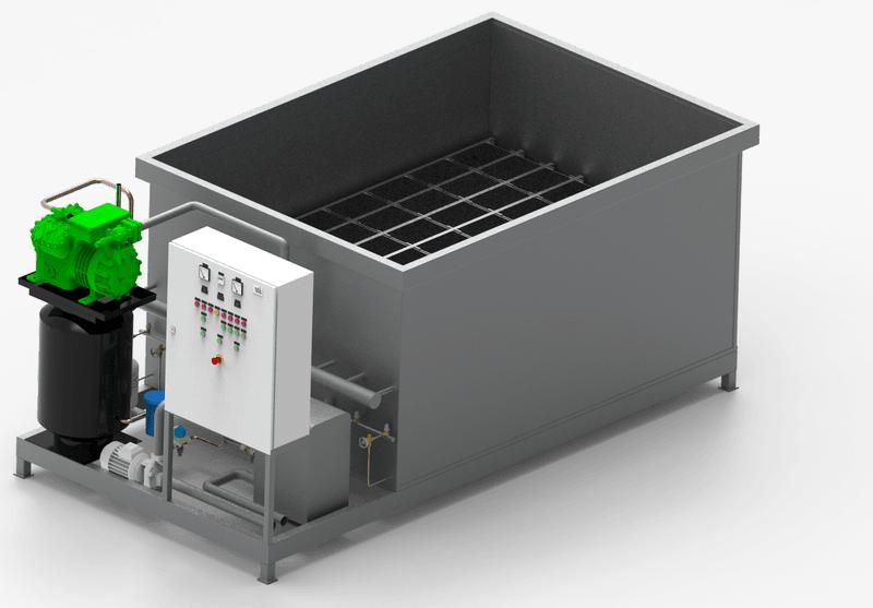 Industrial ice generator in blocks